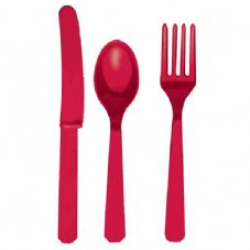 18 Piece Red Party Plastic Cutlery Set